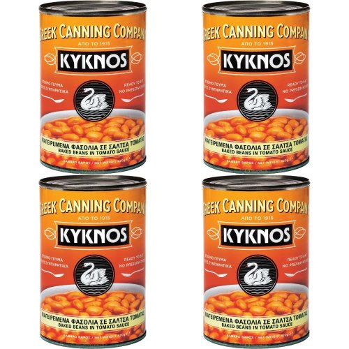 KYKNOS S.A. Greek Canning - Baked Beans in Tomatensauce aus Griechenland - 4er Pack - 4 x 420g